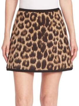 N°21 Virgin Wool & Alpaca Leopard-Print Mini Skirt