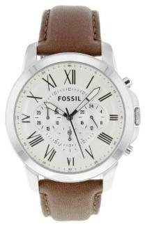 Fossil Men's JR1495 Grant Leather Watch, 44mm