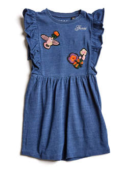 GUESS Embroidered Patch Ruffled Dress (0-24M)