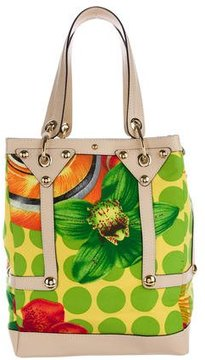 Versace Large Leather-Trimmed Tote