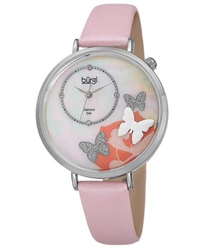 Burgi Mother Of Pearl Butterfly Dial Ladies Leather Watch