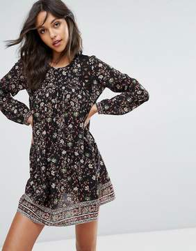 BA&SH Floral Print Mini Dress With Cut Out Detail