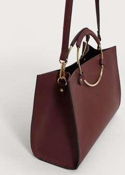 Violeta BY MANGO Metallic handle shoulder bag