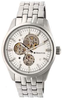Heritor Stanley Automatic Silver Semi-Skeleton Dial Men's Watch