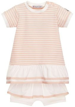 Moncler Short-Sleeve Striped Tunic w/ Ruffle Bloomers, Pink, Size 6-24 Months