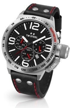 TW Steel Men's Canteen Chronograph Leather Strap Watch, 50Mm