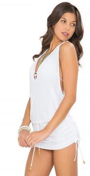 Luli Fama Cosita Buena Cover Ups T-Back Mini Dress in White (L177979)