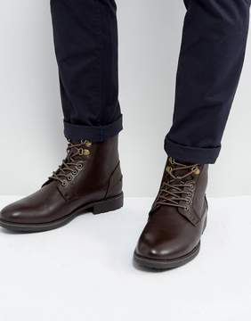 Asos Work Boots In Brown Faux Leather