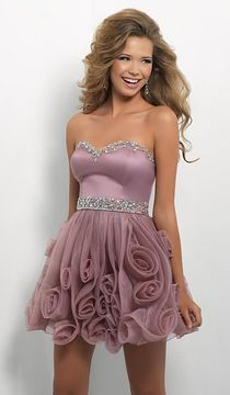 Blush Lingerie Strapless Cocktail Dress with Rose Accented Skirt 9668