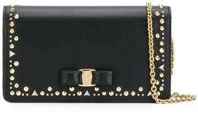 Salvatore Ferragamo studded Vara chain wallet