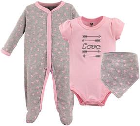 Hudson Baby Pink & Gray 'Love' Bodysuit Set - Infant