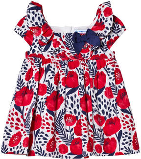 Mayoral Navy and Red Flower Print Dress with Bow