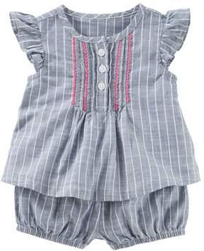 Osh Kosh Oshkosh Bgosh Baby Girl Pinstripe Chambray Top with Bloomers