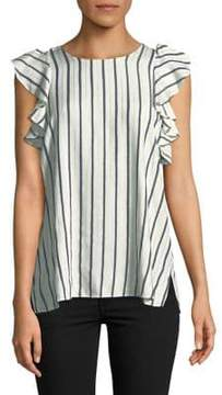 T Tahari Flutter Sleeve Striped Blouse