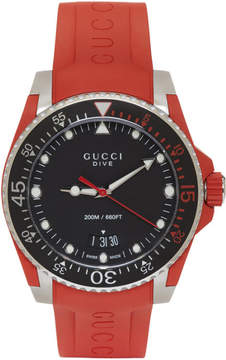 Gucci Red and Silver Dive Watch