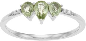 Lauren Conrad 10k White Gold Green Sapphire & Diamond Accent 3-Stone Teardrop Ring