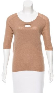 Cacharel Wool-Blend Keyhole-Accented Top