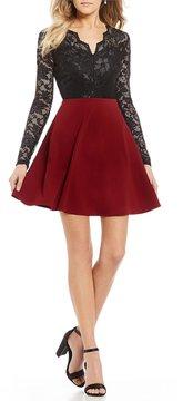 B. Darlin Long Sleeve Scallop Lace Bodice Dress