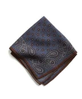 Todd Snyder Italian Wool Blue/Maroon Paisley Pocket Square