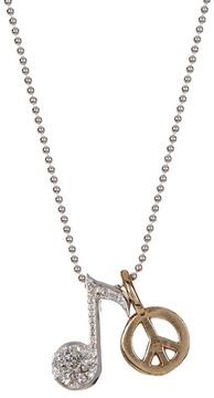 Alex Woo 14K White Gold Little Rockstar Diamond Note Pendant Necklace - 0.02 ctw
