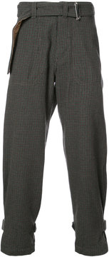 Sacai belted check trousers