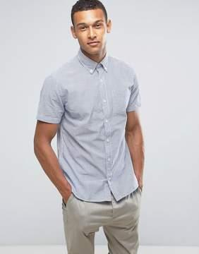 MANGO Man Short Sleeve Shirt In Blue And White Stripe
