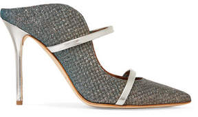 Malone Souliers Maureen Leather-trimmed Metallic Mesh Mules - Blue