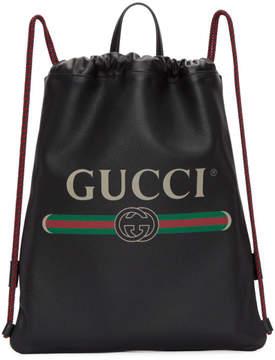 Gucci Black Small Logo Drawstring Backpack