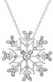 Disney As Is Crystal Hidden Mickey Snowflake Pendant w/Chain
