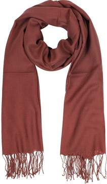 Mila Schon Brick Red Wool and Cashmere Fringed Stole