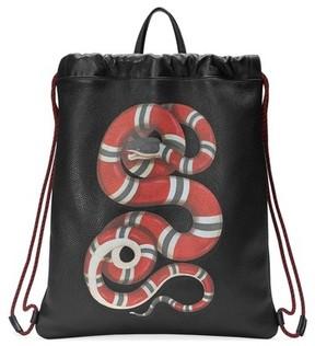 Gucci Men's Kingsnake Leather Drawstring Backpack - Black