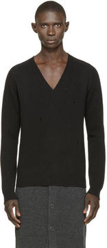 Givenchy Black Distressed Wool Sweater