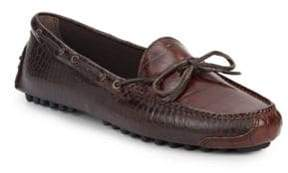 Cole Haan Gunnison Croc-Embossed Leather Moccasins