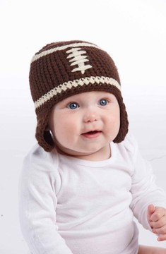 Mud Pie Infant Boy's Knit Football Hat - Brown