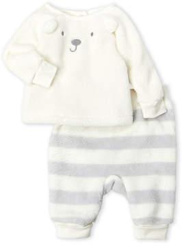 Absorba Newborn Boys) Two-Piece Faux Fur Bear Sweatshirt & Striped Pants Set