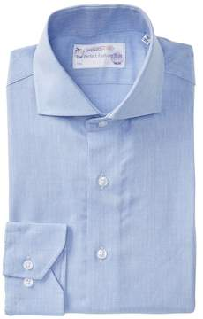 Lorenzo Uomo Woven Texture Trim Fit Dress Shirt