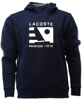 Lacoste Men's Nautical Logo Hoodie Sweatshirt, Navy Blue/White, 6/XL