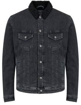 Jack and Jones Jjialvin Faux Fur Denim Jacket