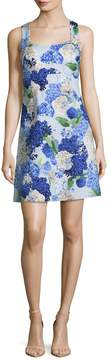 CeCe Women's Hydrangea Bouquet Print A Line Dress