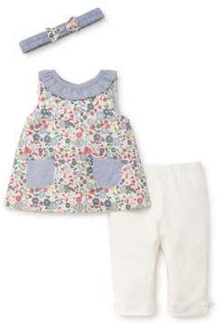 Little Me Baby Girl's Three-Piece Floral Cotton Headband, Top and Pants Set