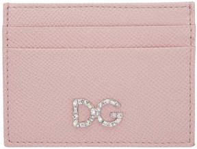 Dolce & Gabbana Pink Crystal Logo Card Holder