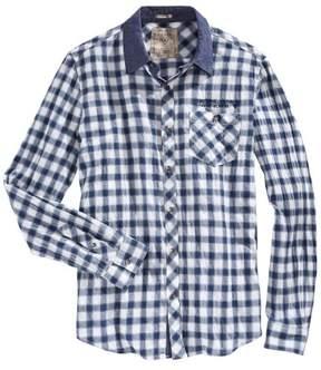 GUESS Slim Fit Ian Plaid Check Crinkled Shirt Turk Sea Blue XX-Large