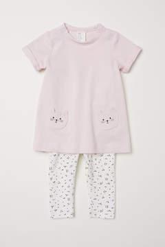 H&M Dress and Leggings - Pink