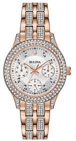 Bulova Women's Rosetone Swarovski Crystal Watch