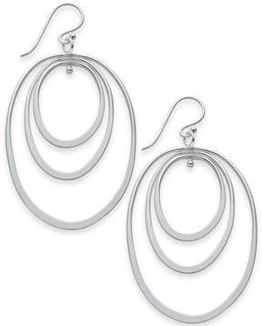 Essentials Extra Large Silver Plated Triple Oval Hoop Drop Earrings