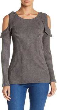 Democracy Ruffled Cold Shoulder Sweater