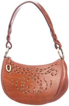 Oscar de la Renta Leather Embellished Hobo