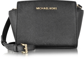 Michael Kors Black Saffiano Leather Selma Mini Messenger Bag - BLACK - STYLE