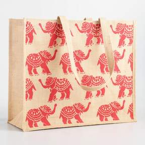 World Market Orange Elephant Jute Tote Bag