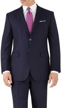 Charles Tyrwhitt Navy Stripe Classic Fit Flannel Business Suit Wool Jacket Size 40